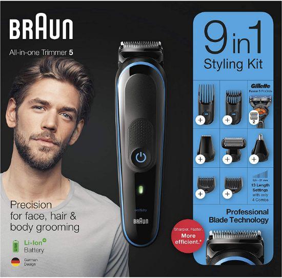 صورة ماكينة تشذيب اللحية للرجال ، مقص الشعر وأداة العناية بالجسم مع تقنية AutoSensing و Gillette ProGlide Razor ، أسود وأزرق